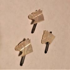 Unusual three spring shank  tuxedo shirt studs with MOP horse heads - racy style