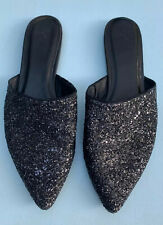 JOIE Shoes 38 Adiel Glitter Flats Black Sparkly Pointy Toe Slip On Mules US 8