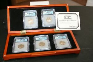 """2006-S State Quarters ICG Set of 5 """"First Day of Issue"""" PR70 DCAM With Wood Box"""