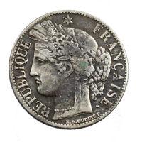 Pièce en Argent France 1 franc Cérès IIIe République 1871 K Bordeaux