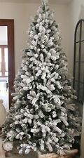 """KING OF CHRISTMAS 7.5 Foot King Flock Artificial Christmas Tree – Unlit 52"""" Wide"""