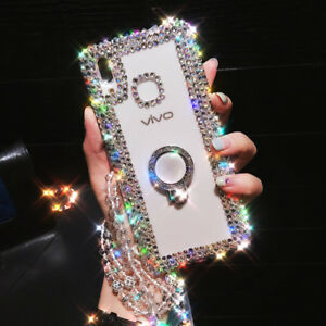 Luxury Bling Ring Holder Stand Kickstand Case phone Cover & Crystal Strap #10