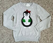 NWT H&M Girls Light Gray Crew Neck Penguin Flippy Holiday Sweater Sz 6-8