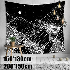 3D Mountain Tapestry Wall Hanging Sea Wave Tapestry Black White Wall Home Decor