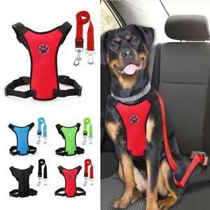 Safety Dog Car Seat Belt Pet Harness And Leash Set Adjustable Nylon Mesh Vest