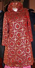 VINTAGE~1940~GENE BURTON RARE BEAUTIFUL RED & GOLD Long Coat~Gorgeous & quality