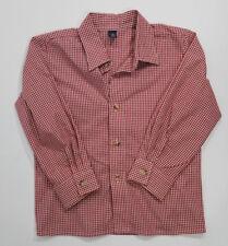 Class Club Boys Shirt Button Front Long Sleeve Gingham School Church Red 5