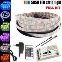 SMD 5050 RGB tira de luz 5M 300 Led impermeable música Sensor remoto Power Kit