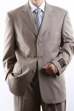 MEN'S SINGLE BREASTED 3 BUTTON TAN DRESS SUIT SIZE 44S, PL-60513-TAN