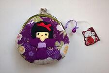 NWT Japanese Silk Crepe Kimono Brocade Chirimen Fabric Coin Purse Geisha Girl
