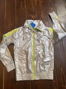 Adidas Originals Missy Elliott Baseline Windbreaker Jacket Size 12 Medium Silver