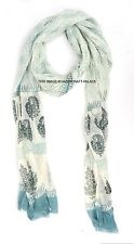 Neck Wrap Chunni White Hand Printed Indian Chiffon Long Scarves Women Dupatta