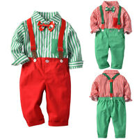 Christmas Toddler Baby Boys Suspenders Pants + Striped Shirts Clothes Outfits