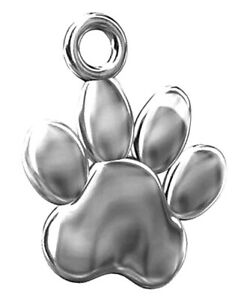 ONE STERLING SILVER 925 SHINY PAW CHARM / PENDANT WITH CLOSED RING, 12 X 10 MM