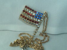 VINTAGE MEN'S RED WHITE BLUE RHINESTONE USA AMERICAN FLAG PENDANT NECKLACE CHAIN