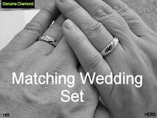 MATCHING Men's & Women's Real Diamond .925 Silver Wedding Band Ring Set