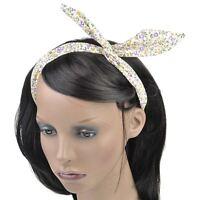 Vintage Retro Wire Headband Hair Band Head Scarf Wrap - Floral Tartan Polka Dot