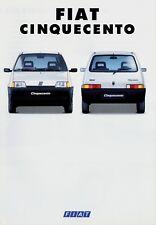 FIAT CINQUECENTO prospetto 1993 2/93 auto PROSPEKT BROCHURE DEPLIANT Prospetto