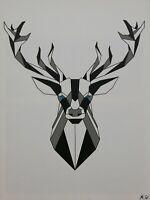 Tableau abstrait géométrique contemporain 60 x 80 cm. Original signé A.G.