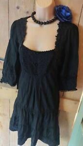 Warehouse Black goth Victorian Lacey silk vintage style retro Dress 12