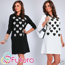 Party Mini Dress With Pockets Hearts Pattern 3/4 Sleeve Tunic Size 8-12 FT1876