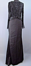 Adrianna Papell Womens Beaded Long Sleeve Formal Dress Sz 12 MSRP $339 #EN 1839