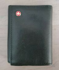 Alpine Swiss Trifold Wallet Black Leather Excellent Pre-owned Condition