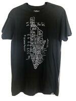 Manhattan New York City NYC Map T-Shirt Hematite Gray Mens Size Medium New