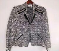 Chicos Womens Blazer Jacket Open Front Black White Tweed Metal Fringe Size 3 XL