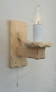 Natural Pine Traditional Rustic 1-Light Wooden Wall Light with Pull Switch