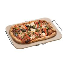 Pizza Stone Set Large Rectangular Stoneware Board & Cutter Chrome Stand Italian