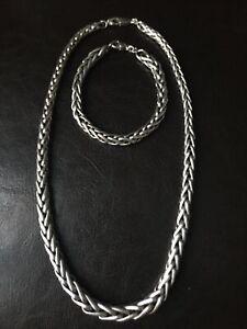 Parure Bijoux Argent Massif 925 Sterling Collier + Bracelet Maille Palmier Lourd