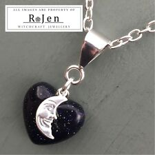 LIGHT BRINGER Blue Goldstone Heart & Moon Pendant Wicca Chakra Lunar Magic Pagan
