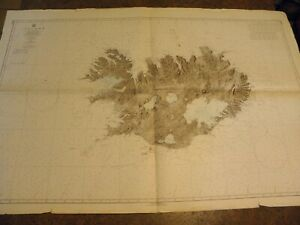 VINTAGE NAUTICAL CHART-ICELAND