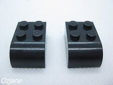 LEGO PART 6215 BLACK BRICK MODIFIED 2 X 3 CURVED TOP X 2 PIECES TRAIN STAR WARS