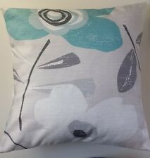 """Blue White Grey Retro Flower Floral Cushion Cover 16"""" Matches Next Curtains"""