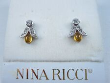 with Swarovski Crystals & Enamel 0796 Nina Ricci Rhodium Plated Pierced Earrings