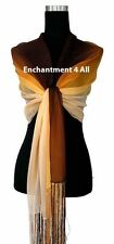 Oblong Handmade 100% Natural Silk Scarf Wrap Shawl Handrolled Brown/Orange/Peach