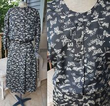 """NSA Butterfly"" 1960s 60s Jacket Dress Belt Silk Suit Set Vintage Couture Black"