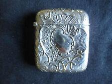 ancien pyrogène boite d'allumettes métal argenté Art Nouveau fin XIX ème