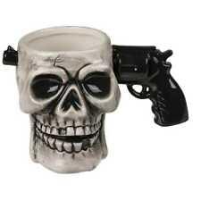 Tasse Pistolengriff Revolvergriff Kaffeetasse Kaffeebecher Pistole Totenkopf