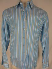 Fray Mens Blue Stripe Long Sleeve Cotton Shirt 16 L Italy Made