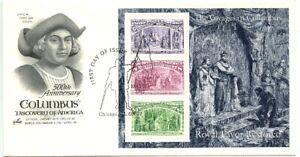 1992 FDC,6c, 8c, $3.00 COLUMBIAN SOUVENIR SHEET COVER