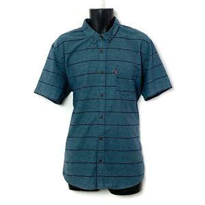 Levi's Short Sleevve Blue Button Up Shirt Navy Blue Stripes Chest Pkt Logo Sz M