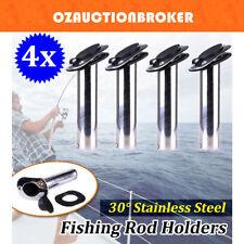 4x 316 Marine Grade Stainless Steel Flush Mount 30 Degree Fishing Rod Holders