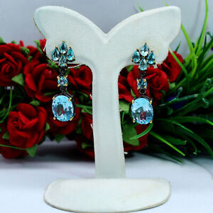 NATURAL 9 X 11 mm. OVAL SKY BLUE TOPAZ WITH APATITE LONG EARRINGS 925 SILVER
