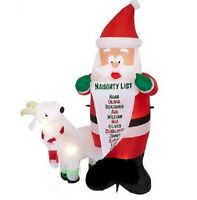 CHRISTMAS SANTA NAUGHTY LIST GOAT  INFLATABLE AIRBLOWN 6 FT GEMMY