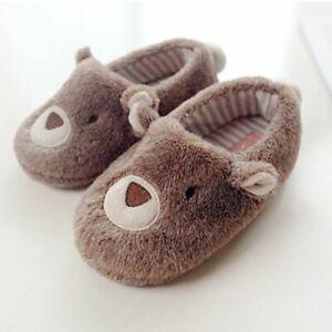 Cartoon Bear Plush Slippers Cute Brown Fuzzy Animal Winter Non-Slip Indoor Shoes