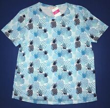 FRESH PRODUCE Large Bluefin Blue $49 PINEAPPLE STAND Scoop Neck Tee Top NWT L