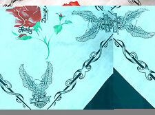 Harley Davidson Bandanas Do Rag  White with Roses and Eagle Made in USA